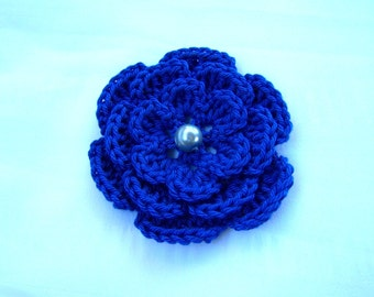 Crochet motif flower with bead 3 inch cobalt blue