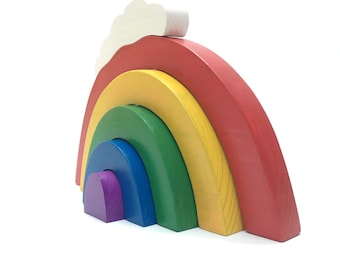 wooden stacking toy the pastel collection: mini rainbow stacker with cloud