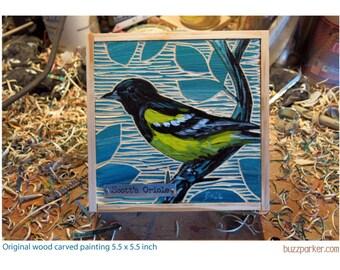 Scott's Oriole, Original Carved Wood Painting -Backyard Birds- by Buzz Parker