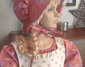 Girls 3 piece Pioneer Prairie Colonial Historical Costume Dress with Bonnet and Pinafore READY to ship Size 10/12
