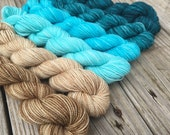 SWM Floats Your Boat Hand Dyed Gradient Sock Yarn Mini Skein Set 570 yards Treasured Toes superwash merino turquoise teal sandy beach island