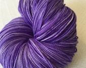 hand dyed Royal Purple Shawl Length Super Skein Superwash Merino Cashmere Nylon MCN 600 yards fingering weight wildcat handdyed