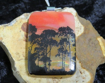 Dichroic Glass Pendant - Fused Glass Jewelry - Dichroic Glass Pendant - Fused Glass Pendant - Dichroic Jewelry - Landscape Pendant