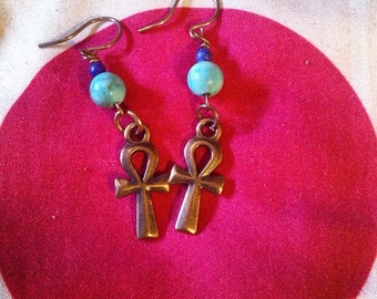 Copper and howlite ankh earrings