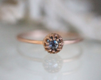 Blue Rose Cut Sapphire 14K Rose Gold Engagement Ring, Gemstone Ring, Stacking Ring, Eco Friendly, Recycled Gold Ring - Made To Order