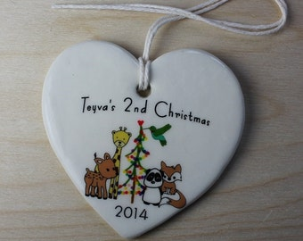 CUSTOM -  Baby's Christmas Ornament - Nature Friends - your baby's name and year