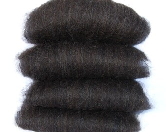 Black Shetland and Black Bamboo Spinning Batts - 4 ounces