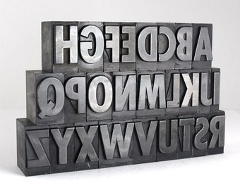 THE ALPHABET - 72pt Metal Letterpress - Bold Sans Serif