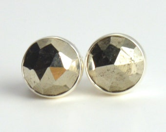 rose cut pyrite 6mm sterling silver stud earrings pair