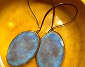 Oval Drop Earrings in Earthy Blue