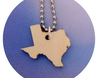 Wooden State Jewelry, Texas Necklace in Lasercut Wood, State Shape, Small Size