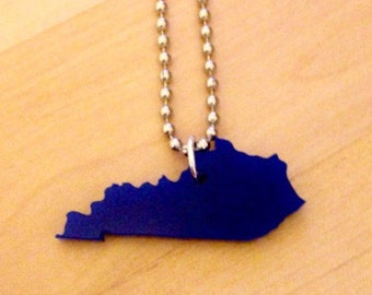 Blue Kentucky Necklace, State Jewelry, State Necklace in Acrylic, The Bluegrass State