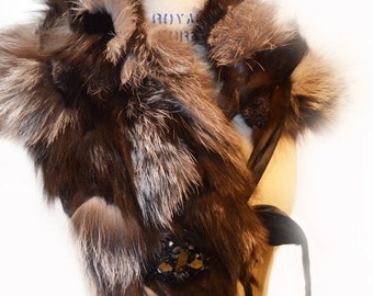Silver Fox and  Black Mink Reversible Scarf/ 4 way Scarf