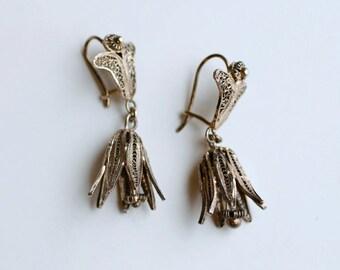 1960s sterling vermeil filigree floral dangling bells / 60s vintage handmade Indian filigree flower dangles pierced earrings