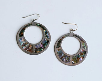 1940s Mexican sterling and abalone inlay pierced earrings / 40s vintage silver and shell circular hoop dangles Mexico artist handmade