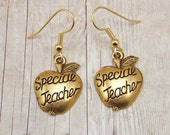 Earrings - Special Teacher - Gold Pewter Charms - Apple