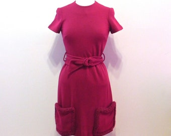 Vintage 1950s Dress - 50s Cranberry Knit Wiggle Dress with Chenille Trim Pockets S M L - on sale