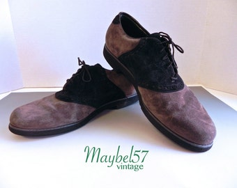 Vintage Mens Shoes 50s style Two Tone Suede Saddle Oxfords - on sale