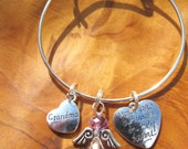 Memory Bracelet - GRANDMA- You Are Always in my Heart -  Personalize -Choose any Birthstone Angel