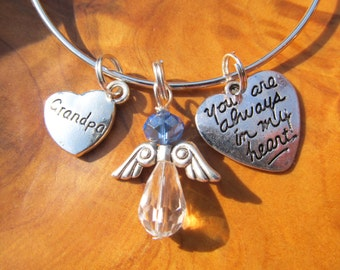 GRANDPA - You Are Always in my Heart - Adjustable Bangle Bracelet - Personalize -Choose any Color Angel