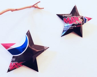 Pepsi Max  Stars Christmas Ornaments Soda Can Upcycled Repurposed Pepsi-cola