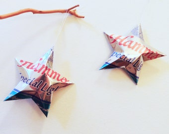 Hamms Special Light Beer Stars Gift Toppers Ornaments Aluminum Can Upcycled