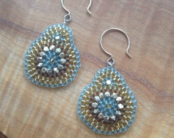 Emily Earrings, Beaded Medallion Earrings, Beaded Drop Earrings, Drop Earrings, Bridesmaids Gifts, Gifts, Christmas Gifts