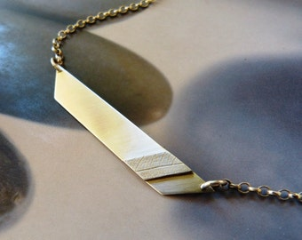 Geometric silver pendant, textured minimalist necklace, triangle, OOAK