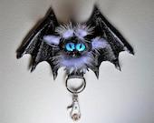 Leather, real fur bag charm. Black leather 3D bat. Gothic fashion keychain. Charm hanger, Purse charm, Key charm, Car accessories