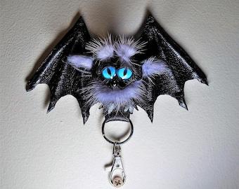 Leather, real fur bag charm. Black leather 3D bat. Gothic fashion key chain. Charm hanger, Purse charm, Key charm, Car accessories