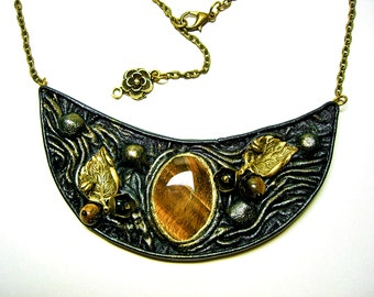 Black antiqued leather Gothic style necklace with tiger eye. Steampunk Victorian Jewelry. Victorian Necklace.