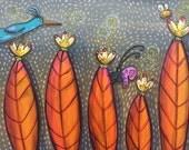Blue Bird Butterfly Bee and Orange Leaves Pop Art Happyart Painting
