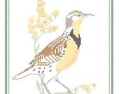 Nebraska State Bird, Flower and Motto Cross Stitch Pattern PDF