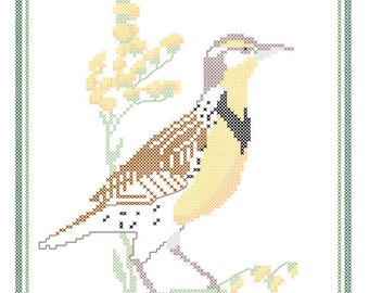 Nebraska State Bird, Flower and Motto Cross Stitch Pattern PDF