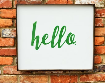 Hello Handmade Wood Sign