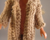 Hand Knit Doll Clothes Tan Coat fits 9 10 inch doll such as Skipper Bratz Blythe