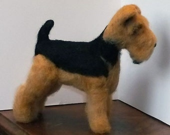 Airedale Terrier One of a Kind Felted Sculpture