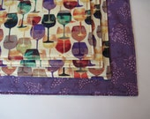 Wine Glass Placemats Reversible  Wine Bottle Placemats Burgundy Placemats Purple Grape Placemats Wine Lovers Placemats Red Wine Placemats