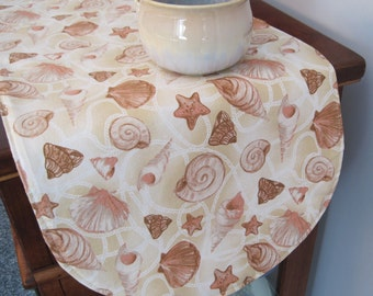 "Tan Seashell Table Runner 36"" Beach Table Runner Shells Table Runner Coastal Table Runner Beachcomber Table Runner Tan Coral Table Runner"