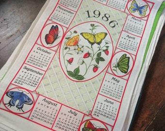 Vintage 1986 Linen Calendar Tea Towel