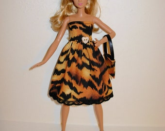Handmade barbie clothes, CUTE tiger dress and bag for new barbie tall doll