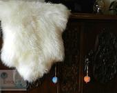 Unique Rare Genuine Stylish Shaggy Creamy White Sheepskin Rug
