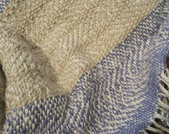 Handwoven Organic Cotton  Baby Blanket - Natural Colorgrown Sage and Periwinkle Plum