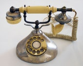 Vintage 1980s French Style Gold and Off-White Rotary Princess Phone