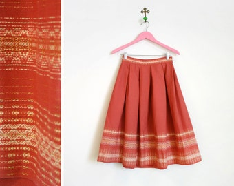 Vintage 1960s Deep Coral Metallic Embroidered Bavarian Wool Skirt Size S