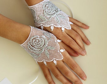 Evening Fingerless Gloves, Silver Glitter Shiny White Guipure Lace Formal Cuffs Bridal Wrist Hand Charms Oriental Modern Wedding Handmade