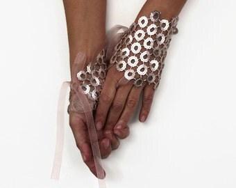 Blush Fingerless Gloves Powder Pink Sequins  Bridesmaids Wrist Cuffs Shiny Pastel Corsages Bridal Bracelet Evening Hand Charms Glam Wedding