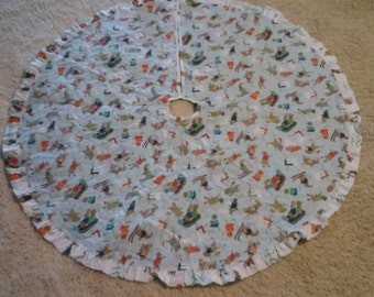 Handmade Quilted Christmas tree skirt