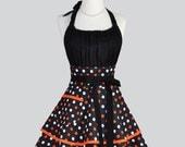 Flirty Chic Apron - Orange and Black Polka Dots Flirty Cute and Sexy Retro Womens Kitchen Apron