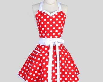 Sweetheart Retro Apron - Red and White Polka Dot Vintage Style Cute Kitchen Apron